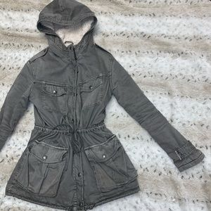 Talula Grey Trooper Jacket Shearling sz XS